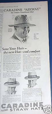 1928 Caradine ventilated Airway men's Straw hats Ad