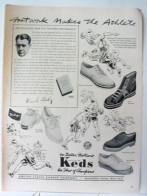 1941 KEDS athletic/sport shoes~Frank Leahy photo~free football book offer