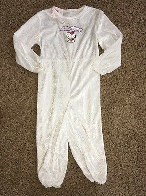 Girls Medium Size 8-10 White Velour Hello Kitty Costume Outfit Jumpsuit Pj's
