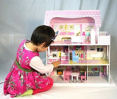 Large Girls Wooden Dollhouse Fits Pink Barbie Doll House W/ 8 Pcs Furniture