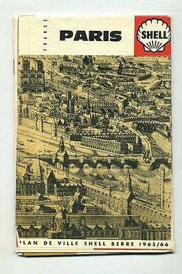 1965-1966 Shell Map of Paris France