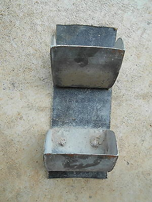 2 Elevator Grain Buckets Vintage Galvanized Metal on Conveyor Belt