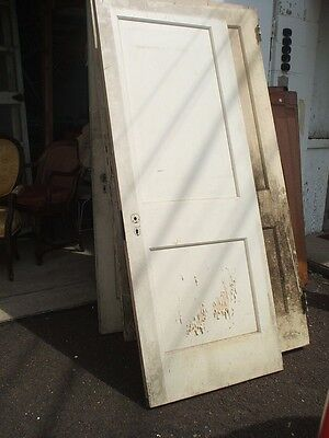 Two Panel Door Cream Painted Vintage Antique Architectural #SD8A