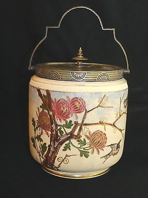 Antique Tapestry Porcelain Cracker Biscuit Jar with Silverplate Lid