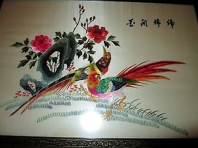 """Vintage Chinese Silk Screen Embroidery """"Bird of Paradise"""" Artwork - 23"""" by 15"""""""