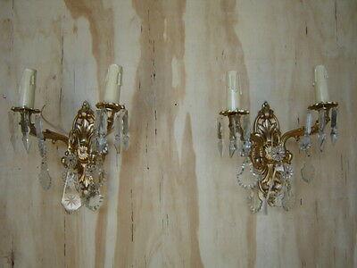 Pair French Bronze Sconces w/Crystal Prims Copper/Bronze Base Gilt