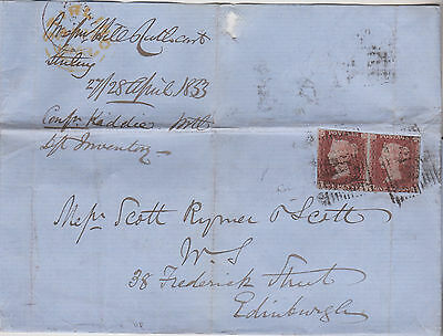 1853 QV STIRLING COVER WITH PAIR OF 1d RED IMPERF STAMPS MAILED TO EDINBURGH