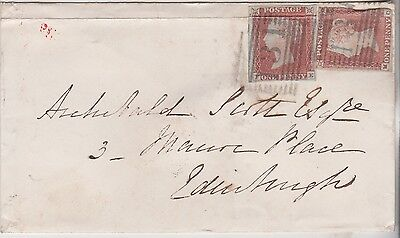 1849 QV RATHO COVER WITH PAIR OF 1d RED IMPERF STAMPS MAILED TO EDINBURGH