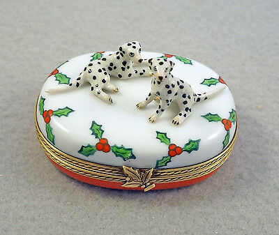 New French Limoges Trinket Box Cute Dalmatian Dog Puppies On Christmas Holly