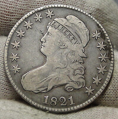 1821 Capped Bust Half Dollar 50 Cents - Nice Coin Free Shipping (4792)