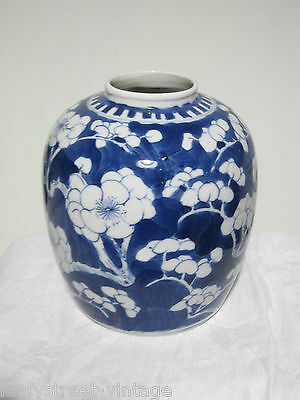 ANTIQUE CHINESE pottery PRUNUS GINGER JAR 4 CHARACTER MARKS