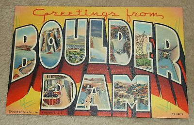 """Postcard Vintage """"Greetings From Boulder Dam"""" Nevada - Unsent"""