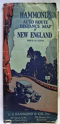 C.S. HAMMOND AUTO ROUTE DISTANCE ROAD MAP NEW ENGLAND STATES 1910s VINTAGE