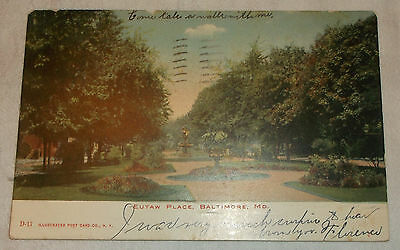 Postcard UDB Picture - Eutaw Place Baltimore Maryland - Sent 1906