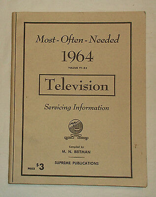 1964 Most Often Needed Television Servicing Service Information Manual TV-212