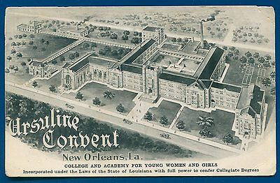 New Orleans Louisiana Ursuline Convent College Academy for girls old postcard