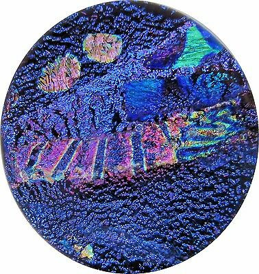 """Marty 22mm x 24mm"" beautiful handmade Fused Dichroic Glass Cabochon RELEI"