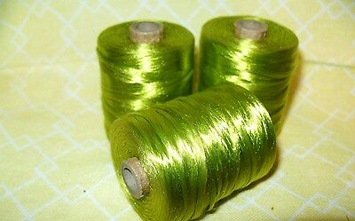 """3 VINTAGE 2 1/2"""" Spools LIME GREEN Sewing Thread Crochet Embroidery silk rayon"""