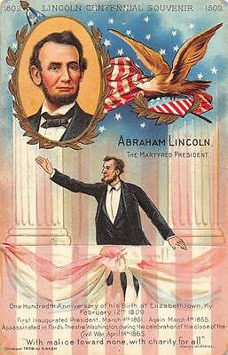 President Abraham Lincoln Centenary Embossed Patriotic Postcard (1908)