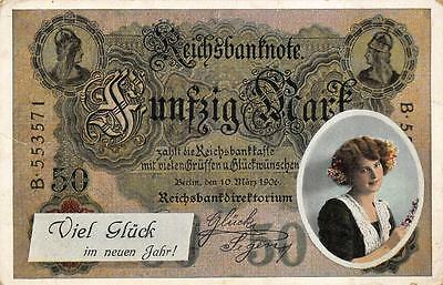 GERMANY BANKNOTE MONEY HAPPY NEW YEAR HOLIDAY WOMAN ROMANCE POSTCARD (c. 1906)