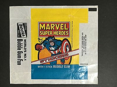 """Marvel """"super Heroes"""" Stickers Wrapper From 1976 By Topps"""