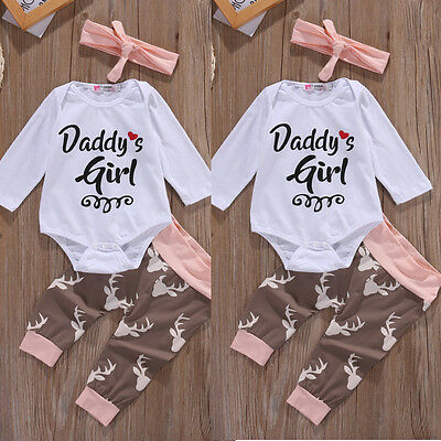 3Pcs Newborn Baby Girl Infant Clothes Romper Pants Bodysuit Outfit Set+Headband