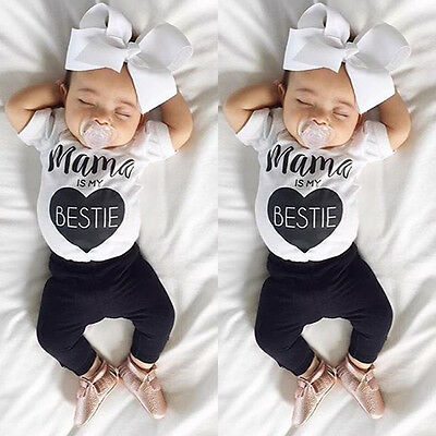 Newborn Baby Boys Girls Mama Romper Jumpsuit Bodysuit Cotton Clothes Outfits Set