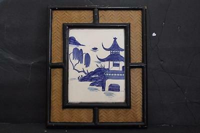 Rare Antique Chinese/japanese Tile Blue White House In Landscape Period Frame