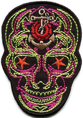 Skull day of the dead calavera biker embroidered applique iron-on patch S-1319