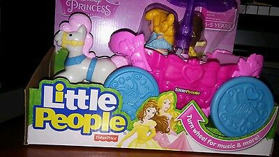 New-Fisher Price Little People Disney Princess Carousel Carriage And Musical