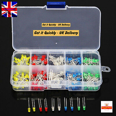 200pcs 3mm Ultra Bright LED Light Emitting Diode Component Kit UK Sell UK Seller