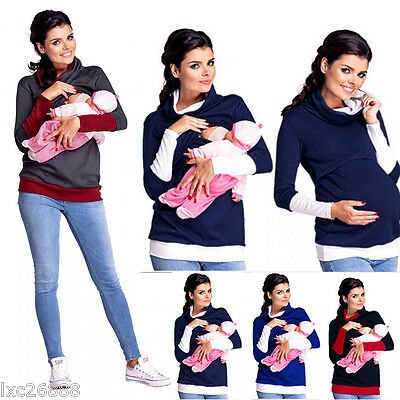 USA Long Sleeve Maternity Clothes Breastfeeding Tops Nursing Top Women T-shirt