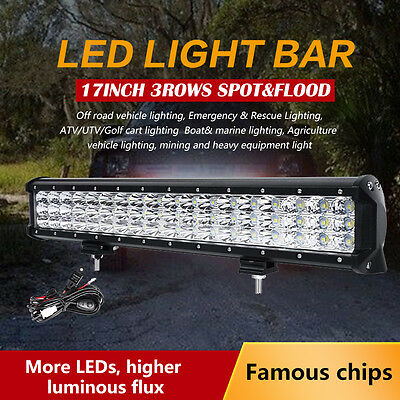 17inch 378W PHILIPS Triple Rows Spot&Flood LED Work Light Bar Offroad Lumileds