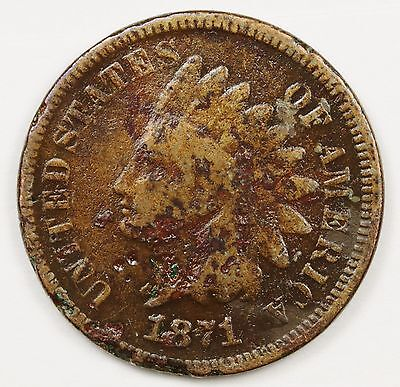 1871 Indian Head Cent.  Circulated.  103153