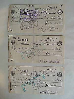 Lot of 3 Midland Bank Cheques from 1959/ 1960. British Banking