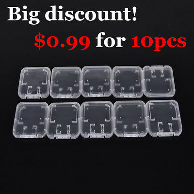 10 x Micro SD SDHC Memory Card Case Holder Box Storage Hard Plastic Transparent