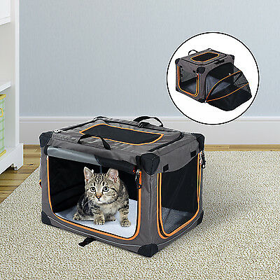 """24"""" Expandable Pet Carrier Travelling Kennel Foldable Box W/ Sided Bag Gray"""