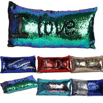 NewStyle Magic Mermaid Pillow Sequin Cover Glitter Sofa Cushion Case DoubleColor