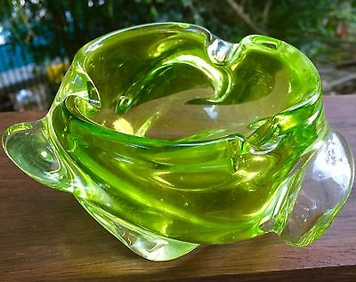 Murano Art Glass Bowl Chunky Mid Century Light Green