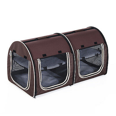 Double Soft Pet Carrier Travelling Kennel Box w/ Sided Bag Sided Foldable Coffee
