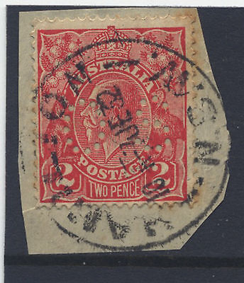 NEW SOUTH WALES - OFFICIAL PERFIN on KGV 2d - Pmk '' HAMILTON '' ON PAPER - 1932