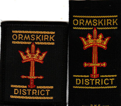Boy Scout Badges ORMSKIRK District ribbon+bound