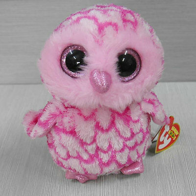 Soft Toy From TY BEANIES BOOS Owl Pinky owl 6 inch tall Stuffed toy with all tag
