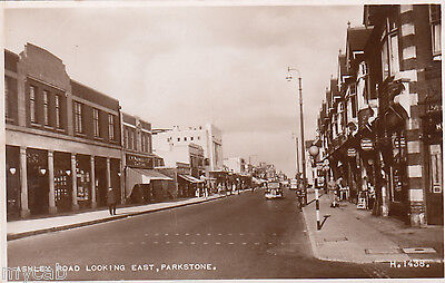 Postcard Parkstone Poole Dorset shops in Ashley Road looking East RP