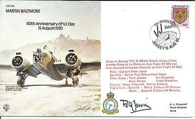 Arcade 99p A Jersey 1985 Boeing 737 Flown,Signed VJ Day Anniv Cover