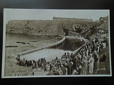 VERY RARE POSTCARD CROWDS AT THE PADDLING POND DUNBAR EARLY 1900's
