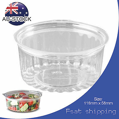 AU STOCK Clear 150pcs Disposables Bowl 12oz with Hinged Flat Lid Kitchen Supply