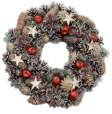 Festive Cone/Star Christmas Door Wreath Natural 39.0cm NEW   27095