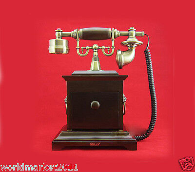 New European Style Resin+ Solid Wood Antique Ancient Dial Telephone