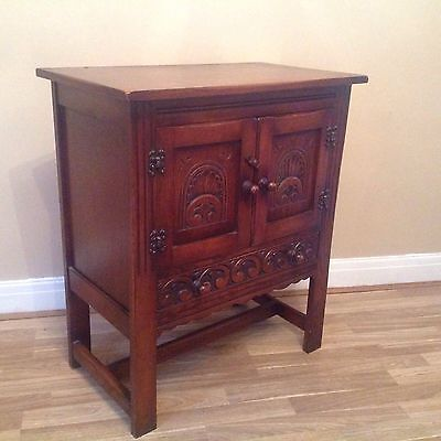 Reprodux Bevan Funnell Period Sryle Carved Oak Cabinet With Drawer
